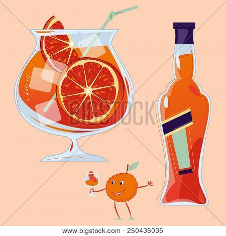 Aperol Spritz Cocktail With A Slice Of Orange. Small Orange Holds A Glass With A Cocktail. Tradition