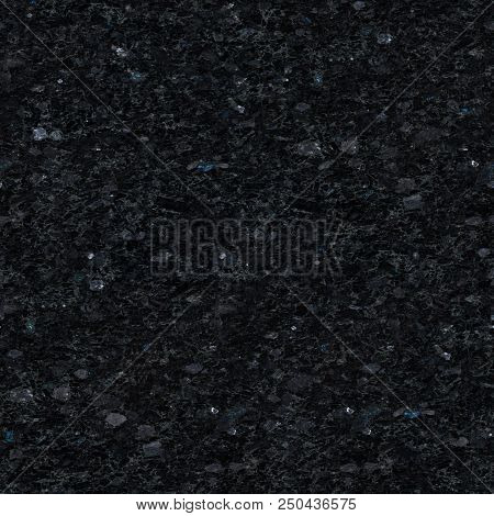 Relief Black Labradorite Texture With Shiny Stones. Seamless Square Background, Tile Ready. High Res