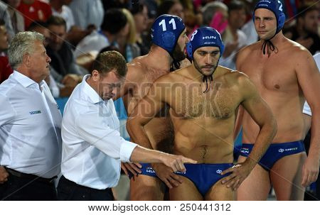 Budapest, Hungary - Jul 27, 2017. Gerendas Gyorgy, Marcz Tamas Head Coach With Gor-nagy Miklos (8),