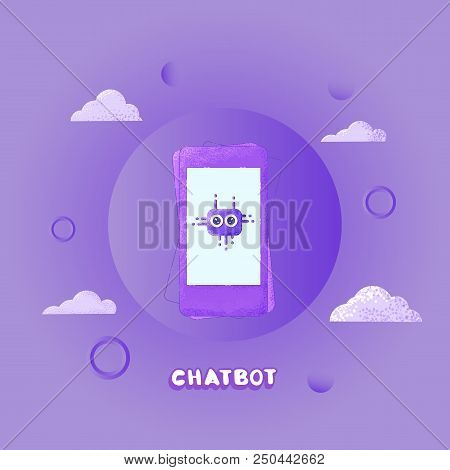 Chat Bot Concept. Virtual Assistance Elements.  Chatbot Sticker With Phone And Decorative Background