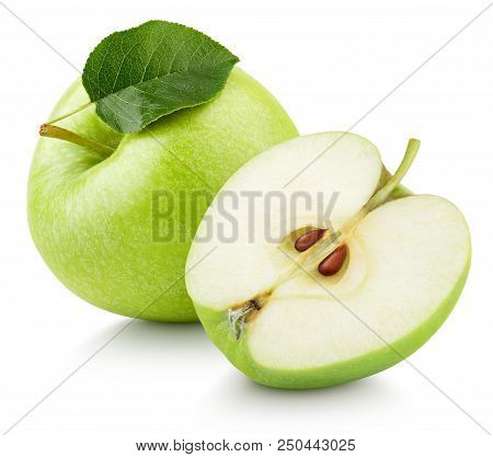 Ripe Green Apple Fruit With Apple Half And Green Leaf Isolated On White Background. Apples And Leaf