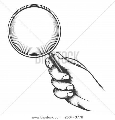Vintage Magnifier Glass. Victorian Man Hand Old Sketch With Magnifying Glass, Detective Hand Retro D