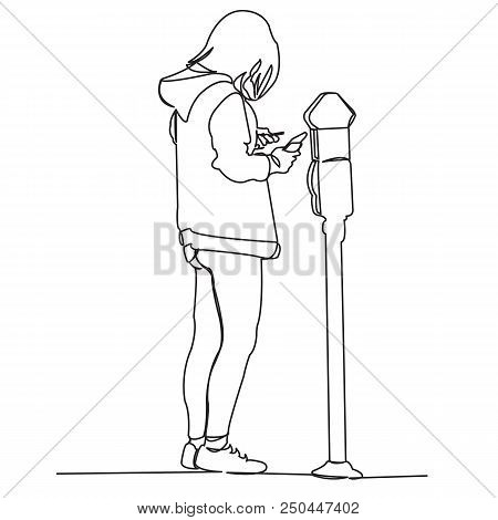 Continuous Single Drawn One Line Girl Pays Parking Picture Drawn By Hand Picture Silhouette.line Art