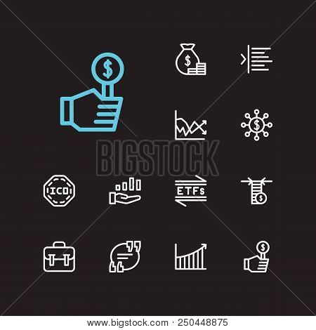Trading Icons Set. Yield And Trading Icons With Ico, Rally And Limit Order. Set Of Product For Web A
