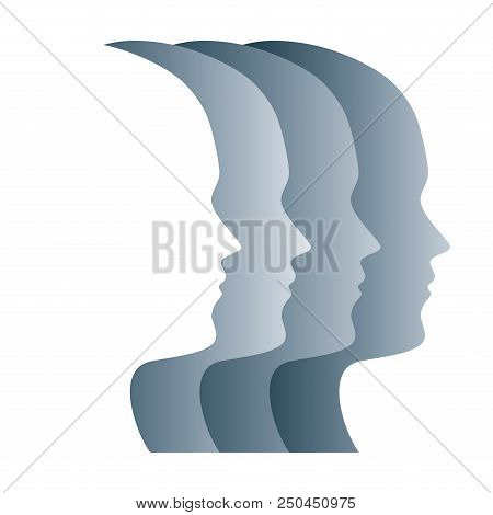 Gray Silhouettes Of Faces, Positioned In A Straight Row. Four Overlapping Heads, As A Symbol For Ega