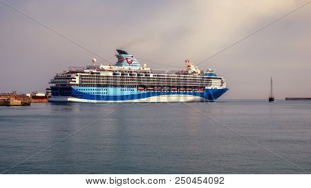 Malaga, Spain - July 19, 2018. Marella Explorer Cruise Ship Owned And Operated By Tui Ag And Rccl (r