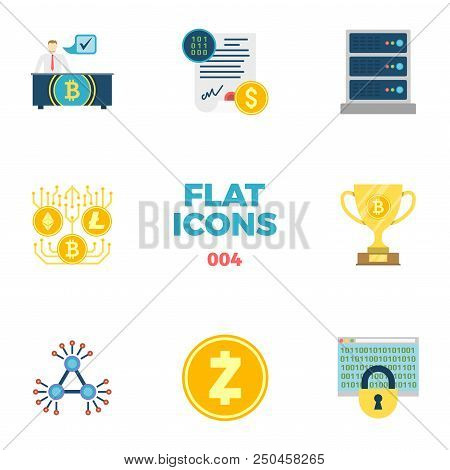 Cryptocurrency And Blockchain Related Flat Icons. Crypto Icon Set. Otc Trading, Smart Contract, Serv