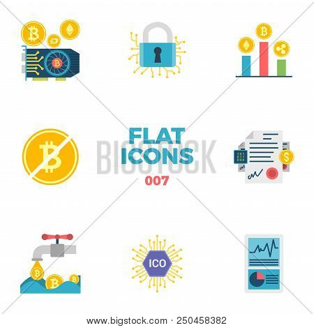 Cryptocurrency And Blockchain Related Flat Icons. Crypto Icon Set. Featuring Gpu Mining, Cryptograph