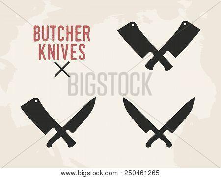 Kitchen Knives Set. Meat Cleaver And Kitchen Knife. Vintage Design. Vector Illustration.