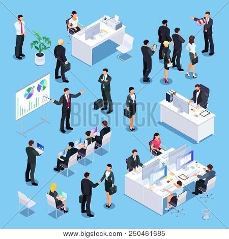 Set Of Isometric Businessmen. Office Workers At The Tables, People In Training, Lecturer, Secretary,