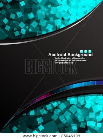 Vector. Fondo negro con cuadrados azules al azar transparentes