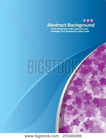 Abstract background with transparent random purple stars and space for your message. No