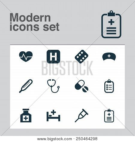 Drug Icons Set With Bed, Pellets, Medicament And Other Hospital Elements. Isolated Vector Illustrati