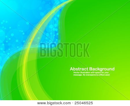 Abstract background with colorful waves and random circles. Vector illustration in RGB colors.