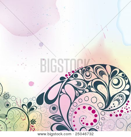Colourful background done in watercolours and hand-drawn floral decorative elements. Vector illustration.