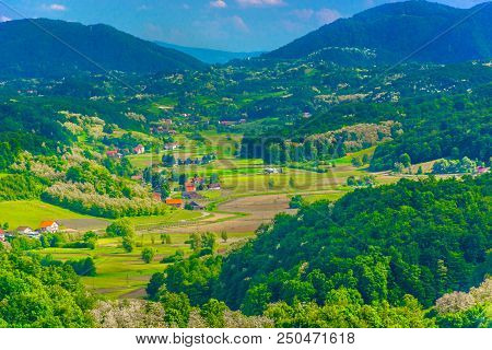 Aerial View At Small Picturesque Village Desinic In Zagorje, Croatian Travel Places.