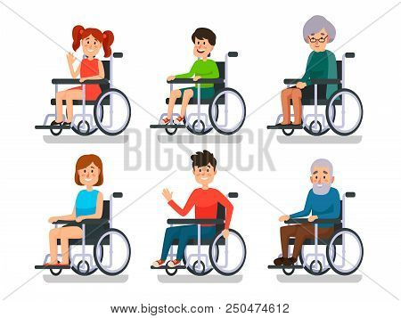 Persons In Wheelchair. Hospital Patient With Disability. Disabled Young Boy And Girl, Man Woman Char