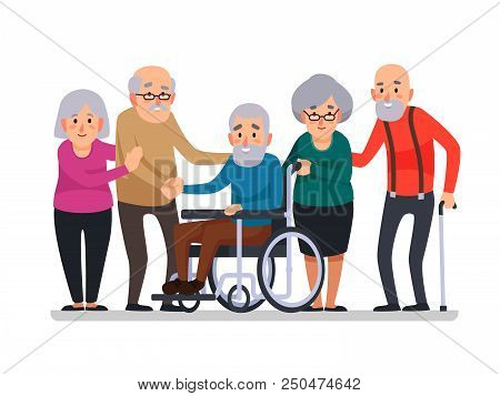 Cartoon Old People. Happy Aged Citizens, Disabled Senior On Older Wheelchair And Care Seniors Smilin