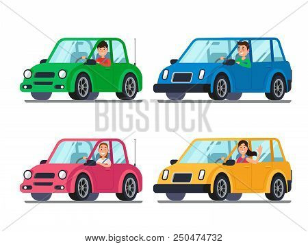 Driver In Car. Men And Women Drivers Designated In Cars Looking Out Of Window. Cartoon People Charac