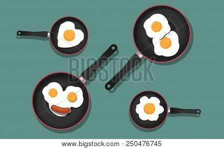 Fried Eggs And Sausage On Pan, Food Ingredients, Vector Illustration