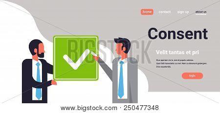 Business People Agreement Green Consent Form Mix Race Man Communication Concept Flat Horizontal Port