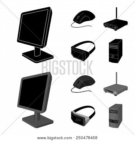 Monitor, Mouse And Other Equipment. Personal Computer Set Collection Icons In Black, Monochrom Style