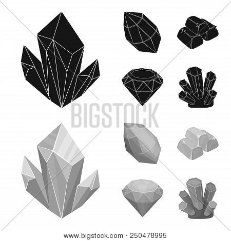 Crystals, Minerals, Gold Bars. Precious Minerals And Jeweler Set Collection Icons In Black, Monochro