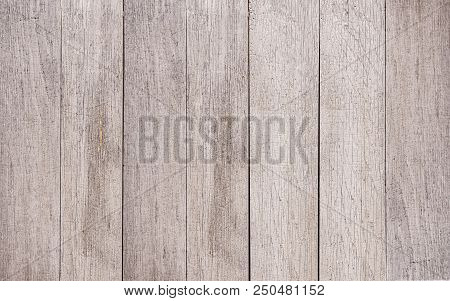 Close-up Of Old Natural White Wood Grain Background Texture With Cracks. View To A Structured Beige