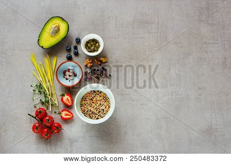 Healthy Food Clean Eating Selection Of Fruit, Vegetable, Micro Greens, Nuts, Seeds, Superfood, Cerea
