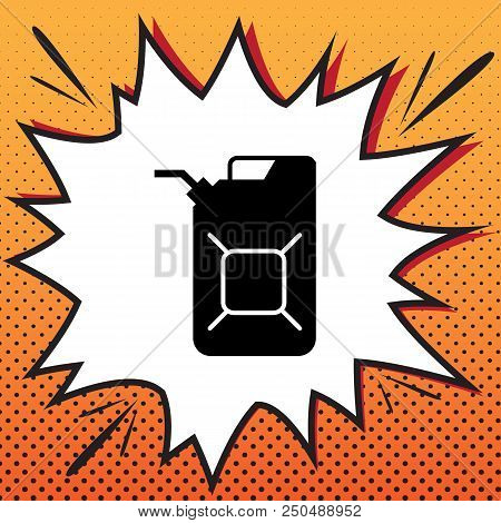 Jerrycan Oil Sign. Jerry Can Oil Sign. Vector. Comics Style Icon On Pop-art Background.