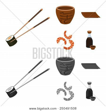 Sticks, Shrimp, Substrate, Bowl.sushi Set Collection Icons In Cartoon, Monochrome Style Vector Symbo