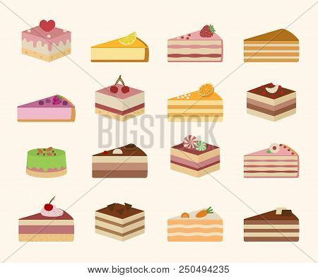 Set of sweet yummy cakes. Isolated on light yellow background. Vector illustration. poster