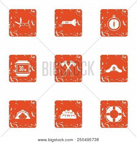 Tour Hike Icons Set. Grunge Set Of 9 Tour Hike Vector Icons For Web Isolated On White Background