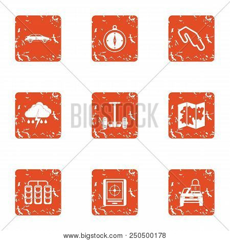 Rugged Terrain Icons Set. Grunge Set Of 9 Rugged Terrain Vector Icons For Web Isolated On White Back