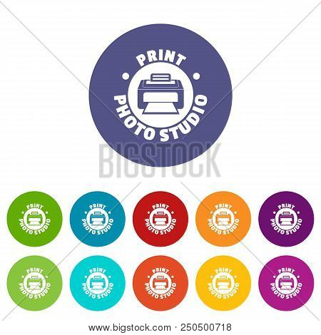 Print Photo Studio Icons Color Set Vector For Any Web Design On White Background