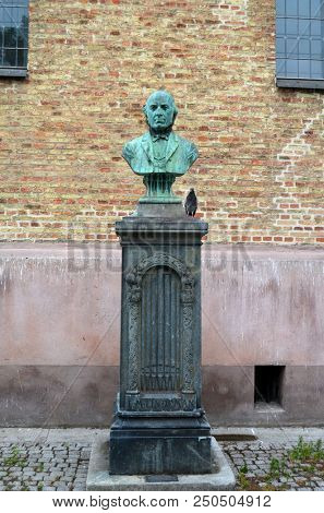 Ludvig M. Lindeman monument,  was a Norwegian composer and organist. ( 1812 –  1887) He is most noted for compiling Norwegian folk music in his work. Near Oslo's Cathedral. June 17,2018. Oslo,Norway
