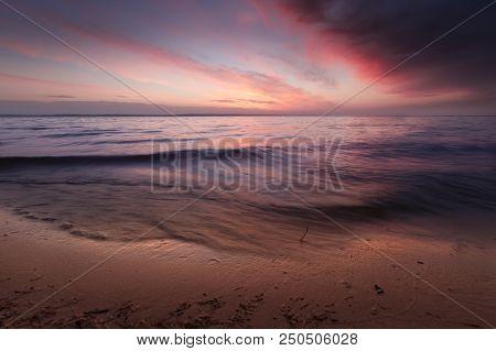 Dark Cloudy Dawn / Turbulent Sea Windy Dawn Pond Outside The City