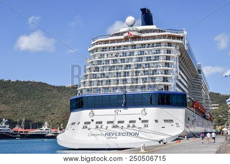 Saint Thomas, Us Virgin Islands - April 01 2014: Celebrity Reflection Cruise Ship Docked In The Sain