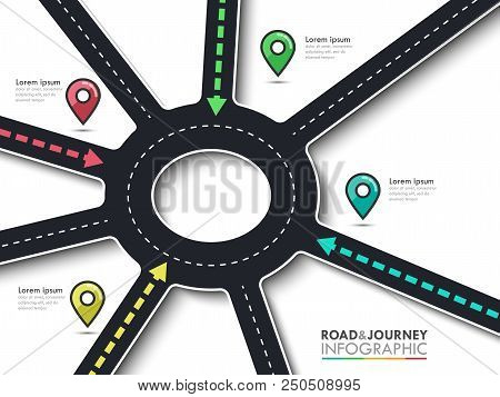 Road Trip, Journey Route And Road To Success. Business And Journey Infographic With Pin Pointer. Rou