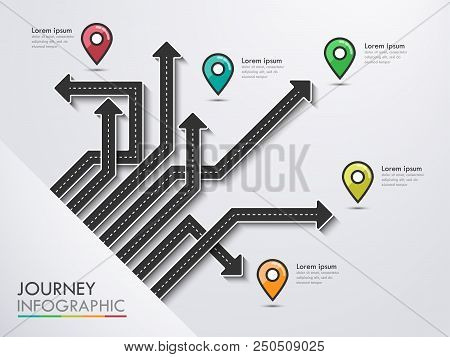 Road Trip, Journey Route And Road To Success. Business And Journey Infographic With Pin Pointer. Sty