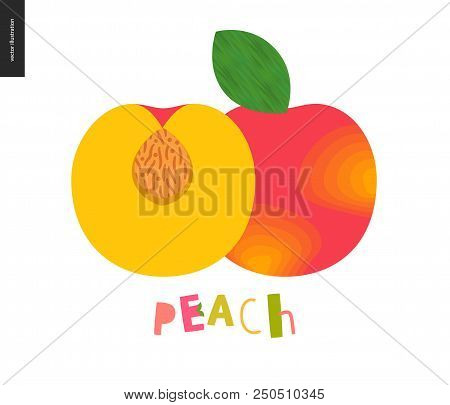 Food Patterns - Fruit, Vector Flat Illustration Of Peach- Simple Half Of Peach Fruit Full Of Firm Ye