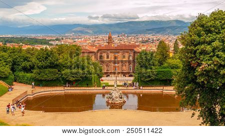 Fountain Of Neptune And Palazzo Pitti In Boboli Gardens, Florence, Italy.