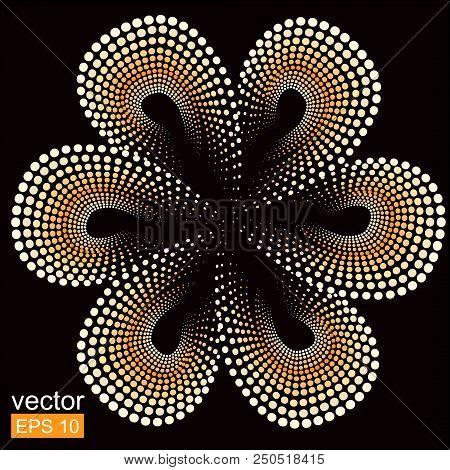 Yellow Tiare Flower. Dots Doted Pattern. Monoi Flower. Black Background. Vector Flower.