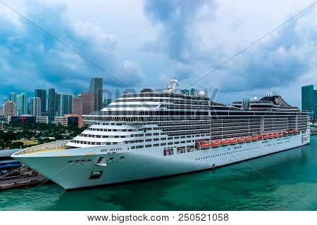 Miami, Florida - March 29 2014: Msc Divina Cruise Ship Docked In Miami, Florida On A Cloudy Day.