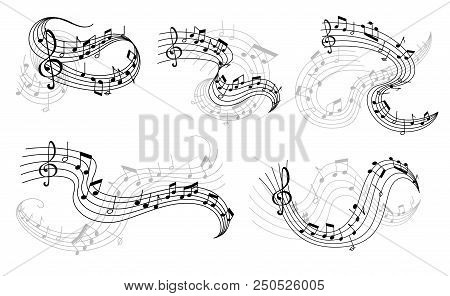 Music Icons Of Musical Staff Or Music Stave Notes And Clef. Vector Set Of Musical Notes On Staff For