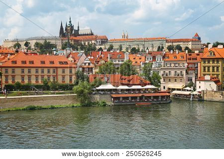Prague, Czech Republic - Jun 10, 2018. View Of Prague Castle (prazsky Hrad) Across Vltava River In P