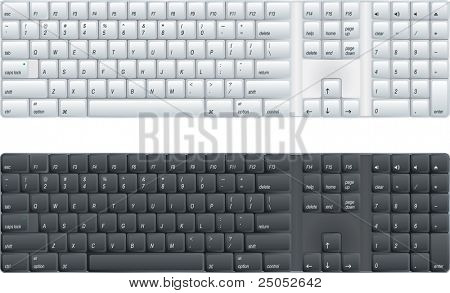 computer keyboard with option of black or white