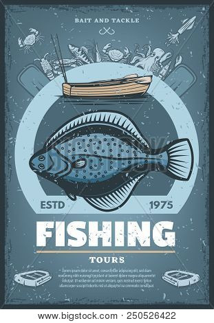 Fishing Tours Vintage Sketch Poster. Vector Retro Design Of Big Flounder Fish Catch For Professional