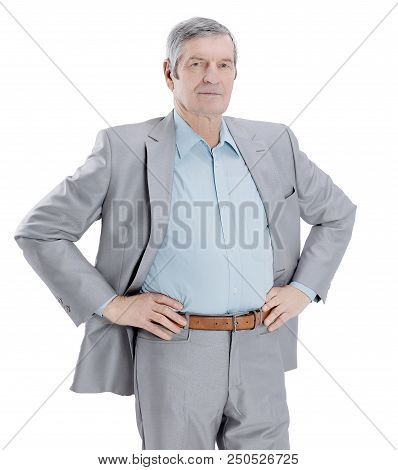In Full Growth. Confident Senior Businessman Isolated On White Background