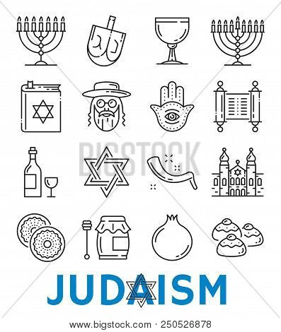 Judaism Symbols Of Jewish Religious Thin Line Art Icons. Vector Isolated Set Of David Star And Torah